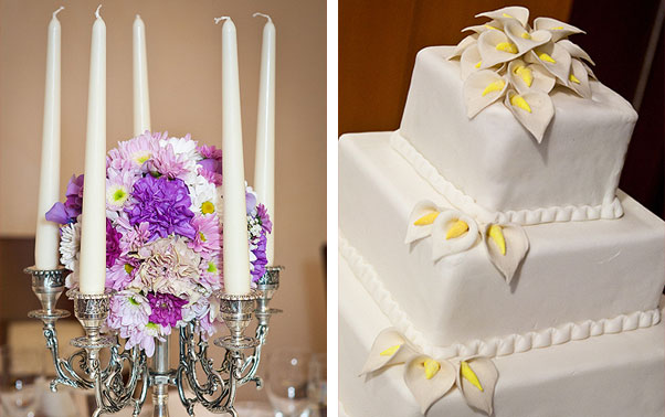sfesnic nunta lumanari su buchet de flori albe si tort nunta